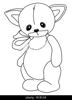 In bianco e nero la colorazione. Teddy Cat. Un giocattolo. Disegnato a mano. Contorno nero. Triste morbido peluche orso. Inc Foto Stock