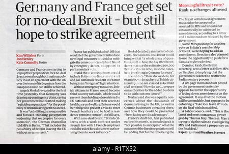 """Titolo di giornale """" la Germania e la Francia a ottenere impostato per non trattare Brexit - ma ancora la speranza di sciopero accordo"""" 18 ottobre 2018 Londra Inghilterra REGNO UNITO Foto Stock"""