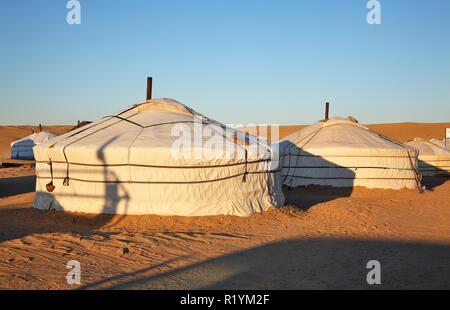 In yurta Khamar Khiid monastero vicino Sainshand. Mongolia Foto Stock