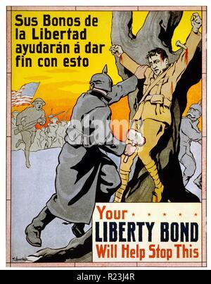 Il vostro legame Liberty aiuterà a fermare questo! La prima guerra mondiale in lingua spagnola la propaganda americana poster volti a donatori Ispanica per lo sforzo di guerra 1917 Foto Stock