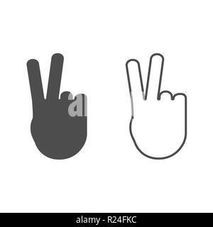 Icona della mano. Segno ok. Illustrazione Vettoriale flat Foto Stock