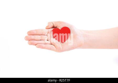 Close up.carta cuore rosso sul lato femmina.foto con copia spac Foto Stock