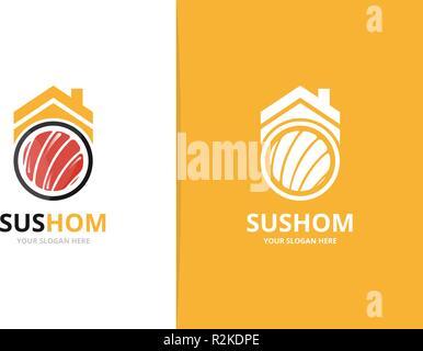 Vettore e sushi immobiliare di combinazione di logo. Il cibo giapponese e casa di simbolo o icona. Frutti di mare unico e affitto logotipo di modello di progettazione. Foto Stock