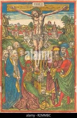 La Crocifissione con Santa Maria Maddalena. Data: c. 1490. Medium: colorate a mano la xilografia. Museo: National Gallery of Art di Washington DC. Autore: attribuita a Michael Wolgemut. Foto Stock