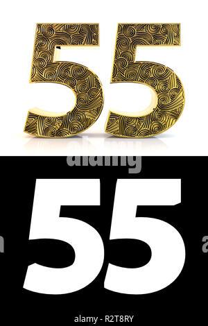 4a9dd7621f0b5 Numero aureo cinquantacinque (55 anni) su sfondo bianco con pattern style  Zentangle, ombra