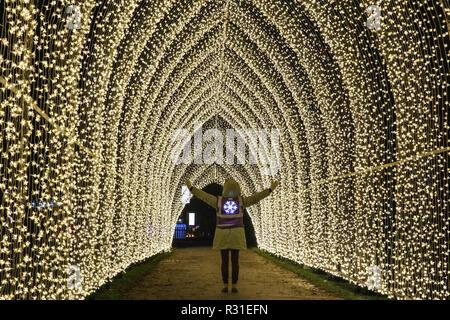 Kew Gardens, Londra, 21 Nov 2018. Kew la più grande mai tunnel di luci arrivano fino a 7 m di altezza e 70 m di lunghezza. Tornando al Royal Botanical Gardens di Kew è Natale a Kew, un sentiero illuminato attraverso Kew dopo-paesaggio scuro, illuminata da oltre un milione di luci scintillanti e dotato di spettacolari installazioni luminose e sonore lungo il percorso, con tunnel di luce e, alla fine, la spettacolare Palm House Gran Finale con laser show. (Tutti i modelli di bambino sono stati forniti dalla sede e che il consenso è stato ottenuto) Credito: Imageplotter News e sport/Alamy Live News Foto Stock