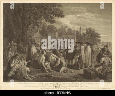 William Penn trattato con gli indiani. Data: 1775. Dimensioni: Immagine: 42.55 58.74 × cm (16 3/4 × 23 1/8 in.) foglio: 48,9 × 62.39 cm (19 1/4 × 24 9/16 in.). Medium: incisione. Museo: National Gallery of Art di Washington DC. Autore: John Hall dopo Benjamin West. Benjamin West.