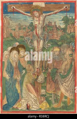 La Crocifissione con Santa Maria Maddalena. Data: c. 1490. Dimensioni: IMMAGINE: 27,4 x 18,5 cm (10 13/16 x 7 5/16 in.) foglio: 36,6 x 24,9 cm (14 7/16 x 9 13/16 in.). Medium: colorate a mano la xilografia su pergamena. Museo: National Gallery of Art di Washington DC. Autore: attribuita a Michael Wolgemut. Foto Stock