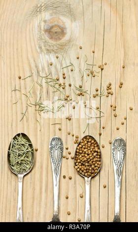 Il coriandolo e rosmarino spezie cucchiai d'argento su sfondo di legno Foto Stock