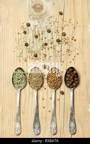 Tipi diversi di spezie il pepe della Giamaica, coriandolo, rosmarino e cumino in cucchiai d'argento su sfondo di legno Foto Stock