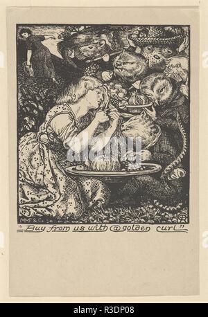"""Acquistare da noi con un Golden Curl (frontespizio per """"mercato Goblin ed altre poesie' da Christina Rossetti). Artista: Dopo Dante Gabriel Rossetti (British, Londra 1828-1882 Birchington-su-Mare). Autore: Christina Georgina Rossetti (British, Londra Londra 1830-1894). Dimensioni: foglio: 5 7/8 x 3 7/8 in. (15 × 9,9 cm). Incisore: Charles Faulkner (British, attivo nel 1862). Editore: Morris, Marshall, Faulkner e Co.. Data: 1862. Christina Rossetti il primo libro di versi, Goblin mercato, ha aiutato a stabilire la sua come l'Inghilterra del leader poeta femmina. Il testo riguarda le sorelle tentati dai Goblin di consumare deli Foto Stock"""