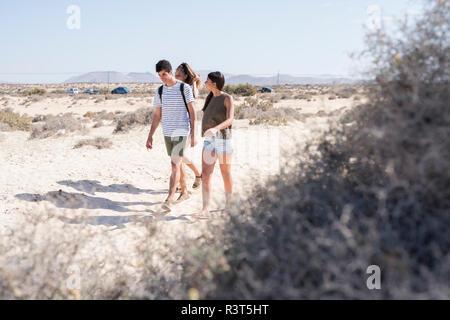 Gli amici di camminare sulla spiaggia, parlando Foto Stock