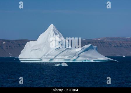La Groenlandia, Scoresbysund, aka Scoresby Sund. Grandi iceberg vicino Ittoqqortoormiit. Foto Stock