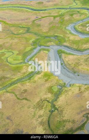 Una veduta aerea tidal flats e insenature lungo il bordo orientale del Cook Inlet, Alaska. Foto Stock