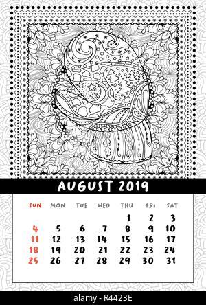 Pagina Calendario Agosto 2019.Il Mese Di Agosto 2019 Anno Calendario Pagina Con Graziosi