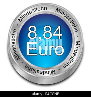8,84 Euro salario minimo - in tedesco - 3D illustrazione Foto Stock