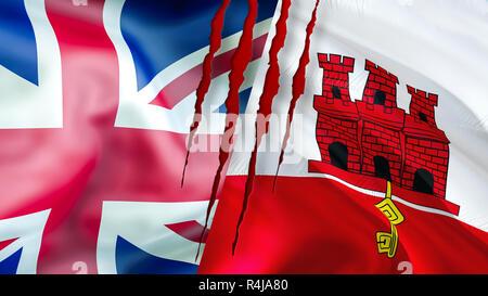 Bandiera Di Gibilterra Gran Bretagna E Unione Europea Foto