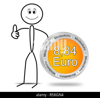 Stickman con 8,84 Euro salario minimo - in tedesco - 3D illustrazione Foto Stock