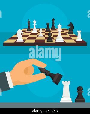 Banner di scacchi set. Illustrazione piana del vettore di scacchi set di banner per il web design Foto Stock