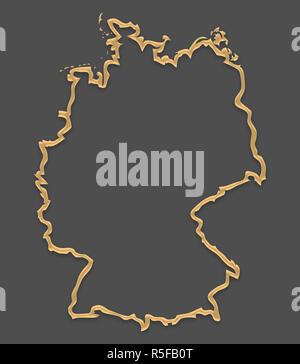 Germania mappa nella cornice immagine guardare con golden brown forma del contorno