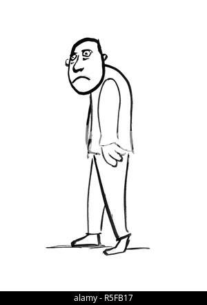 Disegno Artistico Illustrazione Della Triste Profilo Uomo Nel Buio