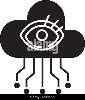 Intelligenza artificiale visualizzazione icona nera, segno del vettore su sfondo isolato. Intelligenza artificiale il concetto di visualizzazione simbolo, illustrazione Foto Stock