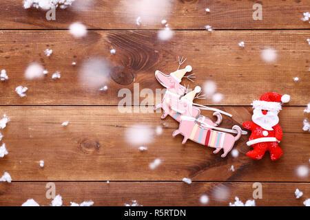Decorazione in Legno Slitta Marrone Pelliccia Decorazione Natale Slitta Advent LEGNO DECORAZIONE