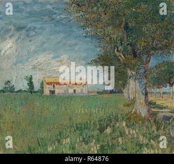 Agriturismo in un Wheatfield. Data: maggio 1888, Arles. Dimensioni: 45,3 cm x 50,9 cm, 65,0 cm x 70,8 cm. Museo: Van Gogh Museum di Amsterdam. Autore: Van Gogh, Vincent. VINCENT VAN GOGH. Foto Stock