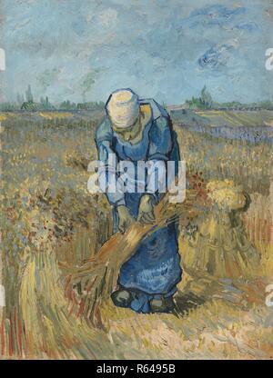 Contadina legando covoni (dopo il miglio). Data: settembre 1889, Saint-Rémy-de-Provence. Dimensioni: 43,2 cm x 33,2 cm, 58,2 cm x 47,6 cm. Museo: Van Gogh Museum di Amsterdam. Autore: Van Gogh, Vincent. VINCENT VAN GOGH. Foto Stock