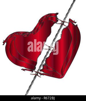 Amore strappato cuore Foto Stock