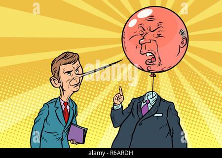 Fumetto critico con un naso lungo e feroce testa bolle cartoon arte