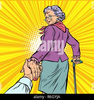Follow me donna matura Granny conduce la mano Foto Stock