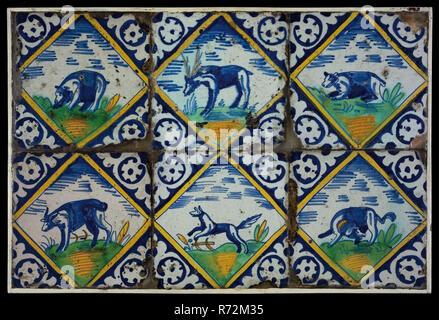 Campo di piastrelle sei piastrelle decorazioni animali nella fascia