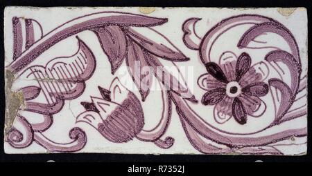 Bordo rettangolare tegola in viola con il design di vorticazione