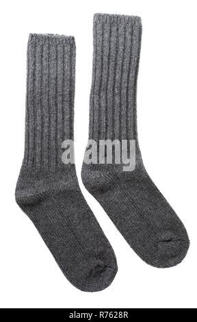 Uomini grigio calze di lana su bianco. Foto Stock