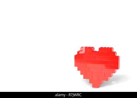 Vista laterale di un cuore rosso con ombra, fatta di toy mattoni di edificio, isolato su sfondo bianco. Copia dello spazio.