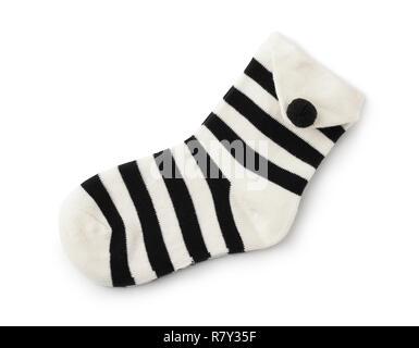 Coppia di bambino calze a righe isolate su un bianco Foto Stock