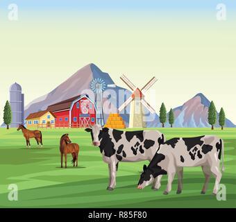 Gruppo di personaggi simpatici animali della fattoria dei cartoni