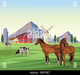 Cartone animato di un contadino nella sua fattoria con un gruppo