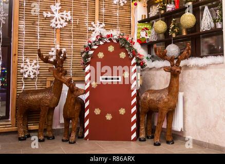Cervi e una cassetta postale per le lettere di Babbo Natale Foto Stock