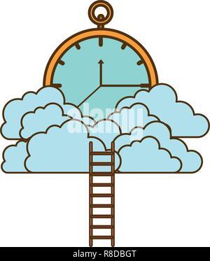 Orologio con nuvole e scale Foto Stock