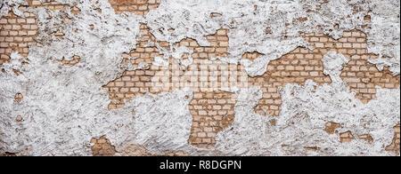 Il vecchio fondo urbano, bianco rovinato industriale parete in mattoni con spazio di copia