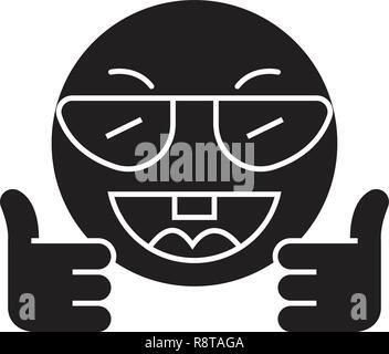 Mostra ok gli Emoji nero concetto vettoriale icona. Mostra ok emoji illustrazione piana, segno Foto Stock