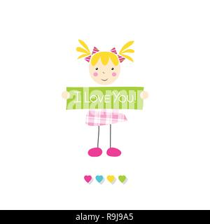 Bimba bionda in rosa plaid dress holding ti amo firmare con cuori su sfondo bianco Foto Stock