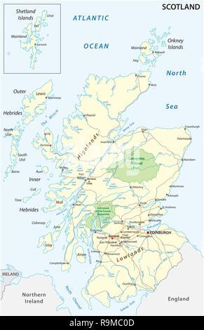 Scozia Cartina Dettagliata.La Mappa Stradale Di Inverness Scotland Foto Stock Alamy