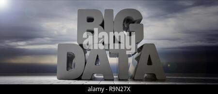 Dati di grandi dimensioni testo grigio su sfondo con cielo nuvoloso, banner. 3d illustrazione Foto Stock