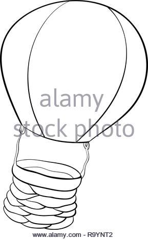 Pallone Aerostatico Libro Da Colorare Page Cartoon Illustrazione