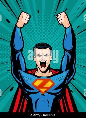 Il supereroe forte. Cartoon in arte pop retrò stile comico, illustrazione vettoriale Foto Stock