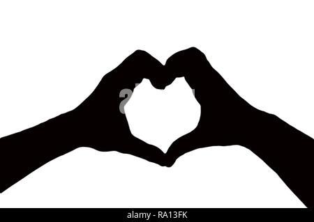 Silhouette di due mani facendo una forma di cuore insieme isolato su uno sfondo bianco, il giorno di san valentino concetto Foto Stock