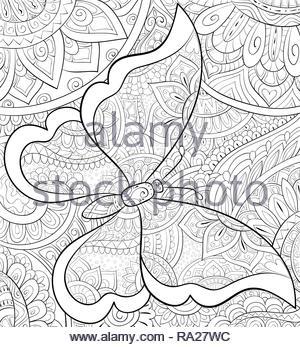 Butterfly Zen Groviglio Illustrazione Vettoriale Libro Da Colorare